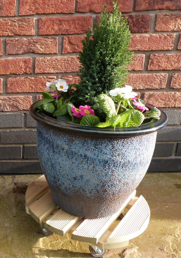 Natures Round 50cm Plant Pot Stand Trolley Uk Garden