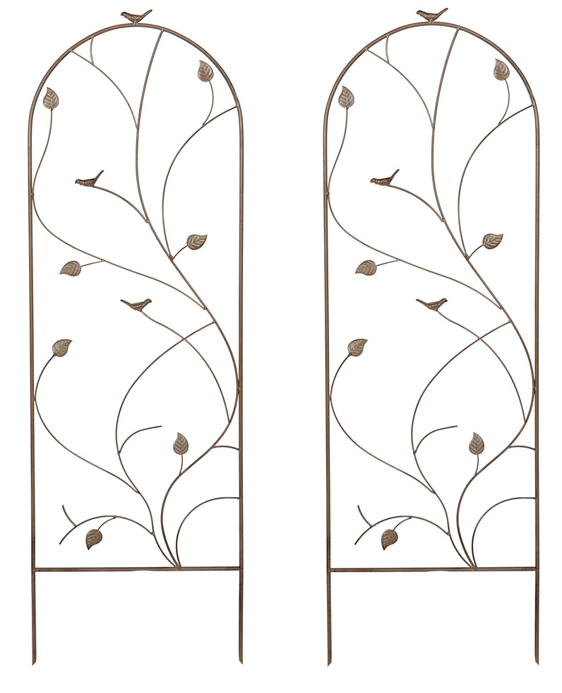 Set of 2 x Bird and Leaf Design Metal Garden Trellis