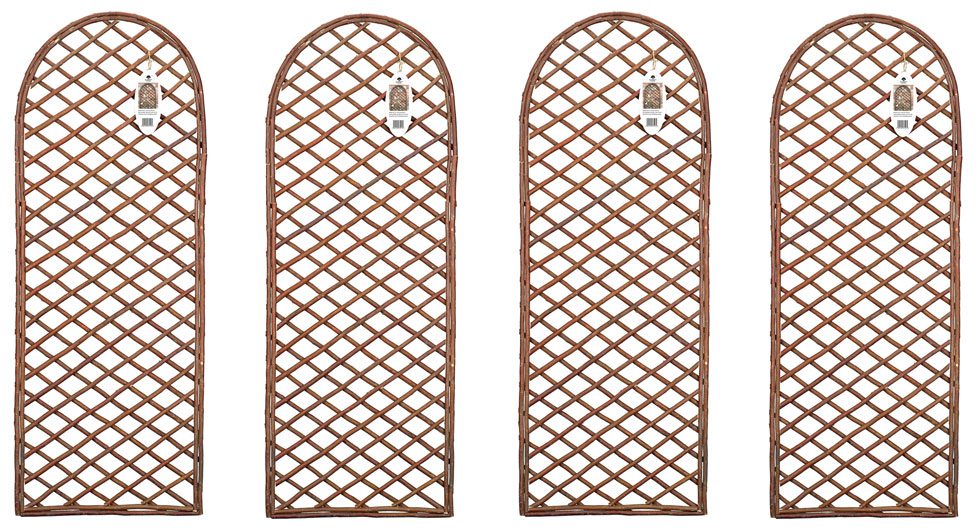 Set of 4 Extra Strong Willow Garden Wall Trellis Round Top Panels